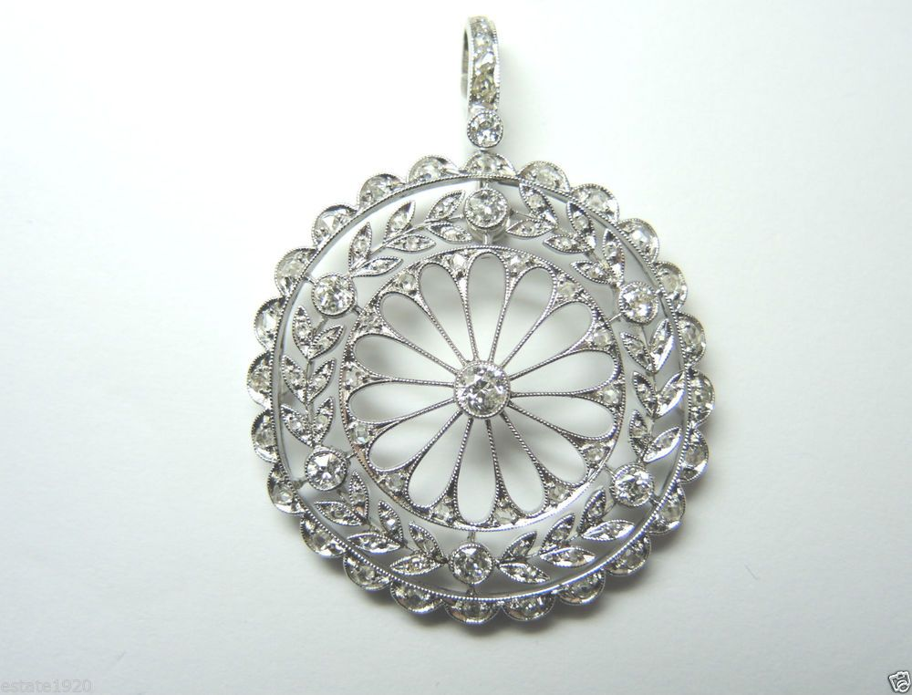 Antique European Rose Diamond Pendant Filigree Vintage Platinum Art Deco Rare