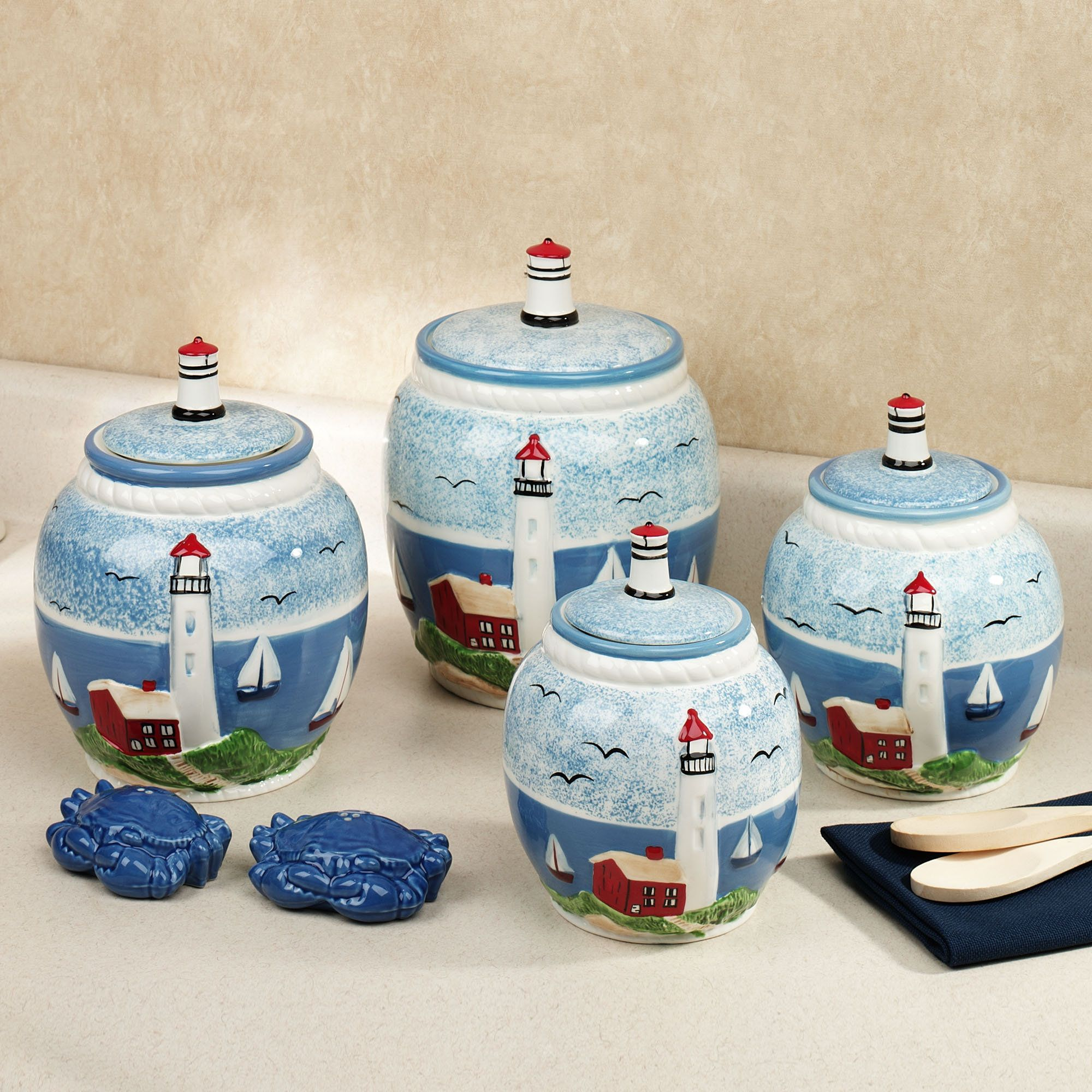 handpainted lighthouse kitchen canister set 89 99 kitchen handpainted lighthouse kitchen canister set 89 99