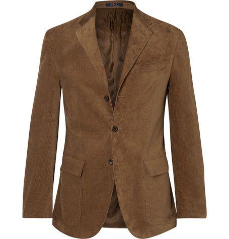 Polo Ralph Lauren Harvard Slim-Fit Suede-Panelled Corduroy Blazer ...