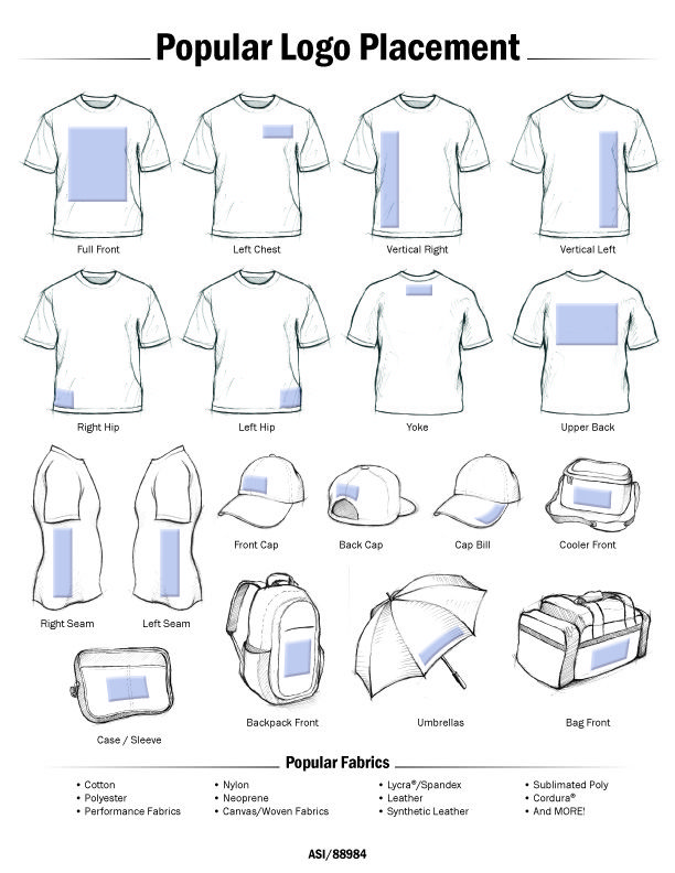 Learn about the most popular logo placement and design for Tee shirt logo printing
