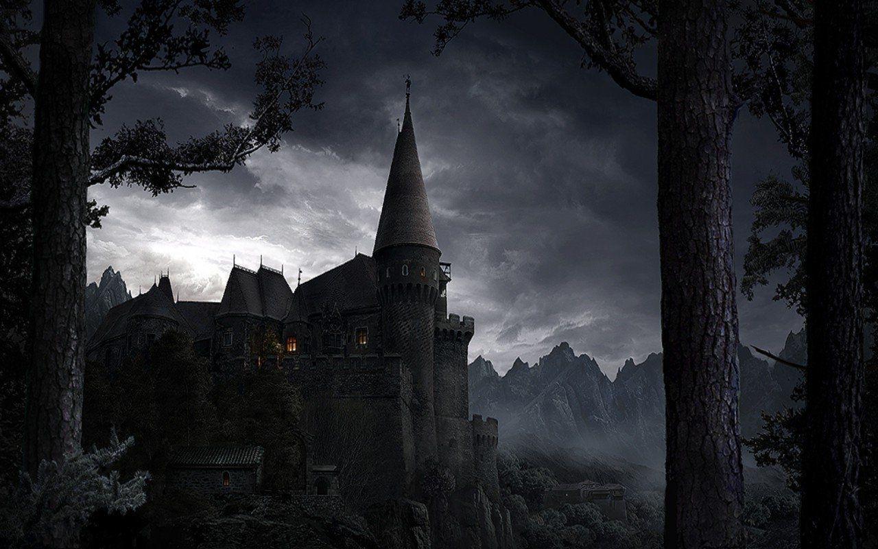 Dark Castle Castle Cloudy Dark Forest Sky 154011 Immagini