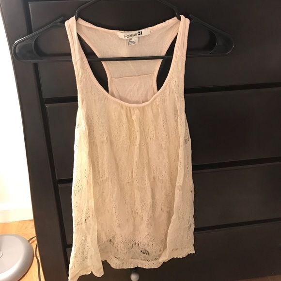 I just discovered this while shopping on Poshmark: Lace Cream Colored Forever 21 Tank. Check it out!  Size: S