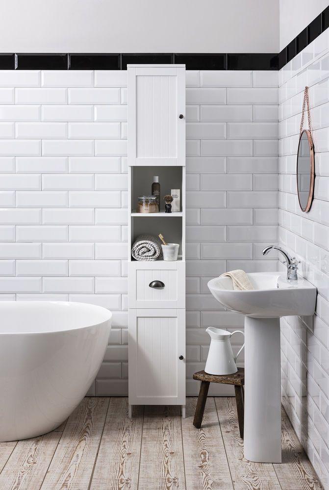 Tallboy Bathroom Cabinet Hallway Storage Unit in White Stow