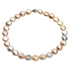 Russell Trusso Graduated Coin Pearl Diamond-Embedded Necklace