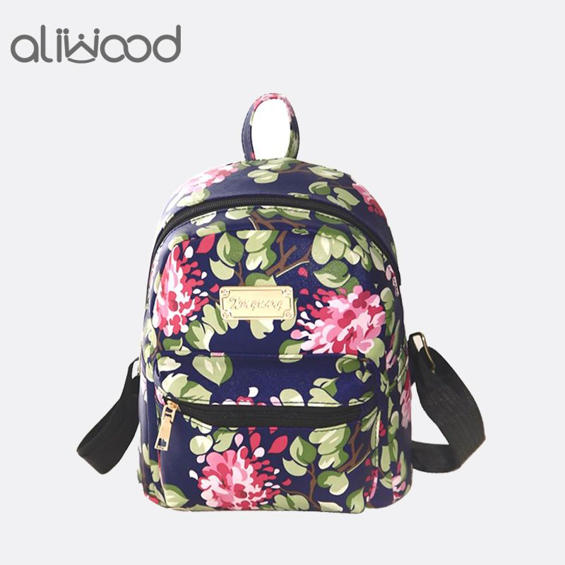 bd43ab6ea52d Women Backpacks PU Leather 3D Printing Floral Rivet Famous Brands Backpack  Female School Bag For Teenagers Girls Travel Mochilas