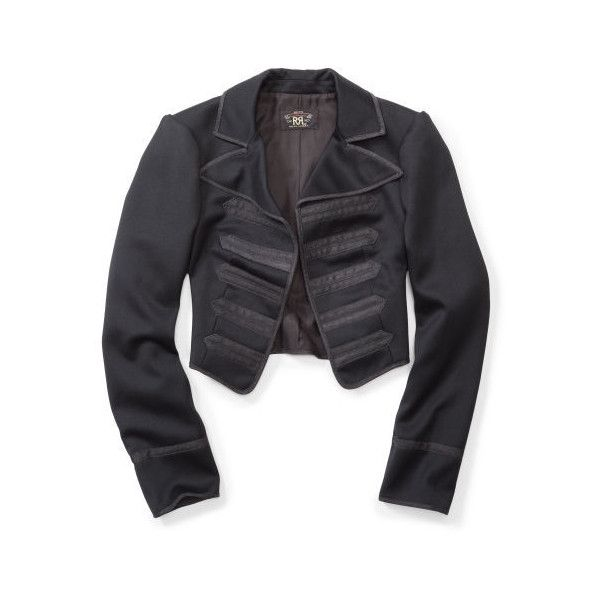 Ralph Lauren Rrl Wool Bolero Jacket ($990) ❤ liked on Polyvore featuring outerwear, jackets, long sleeve jacket, ralph lauren, cropped bolero jacket, bolero jacket and cropped jacket