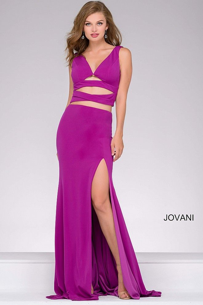 Red Jersey High Slit Two Piece Prom Dress 47501 | Cool stuff to buy ...