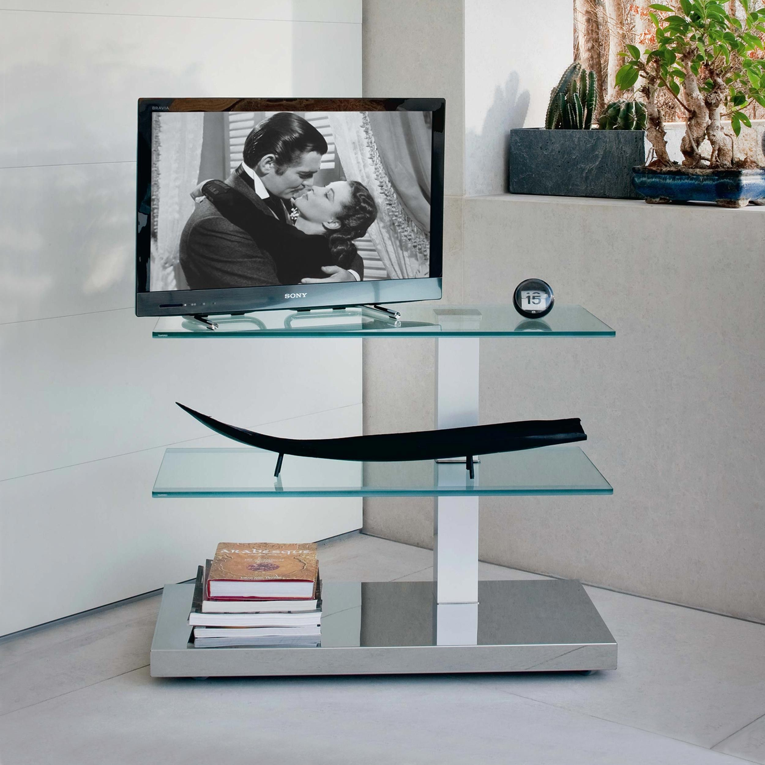Porta Tv Cristallo Design.Tv Stand In Stainless Steel And Glass Mod Play Cattelan