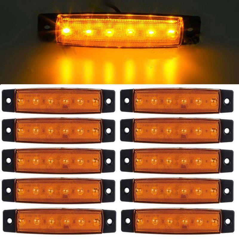 10X White LED 6 Side 6 SMD Marker Rear Light Truck 10X Amber 24V 10X Red