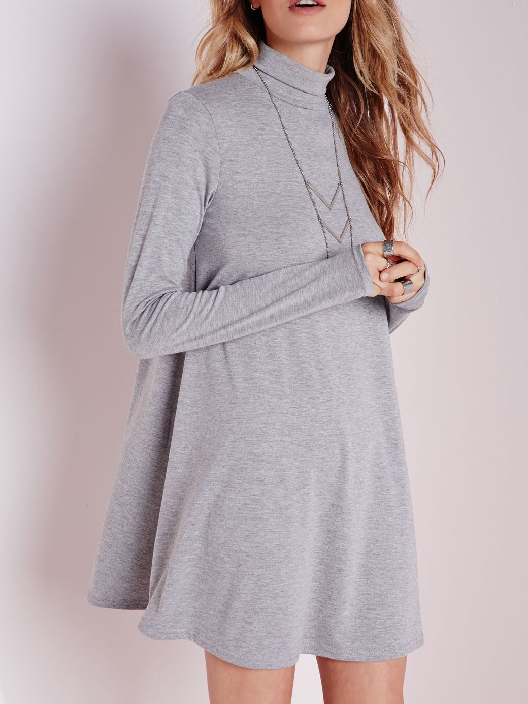 Grey polo neck long sleeve loose tshirt fashion