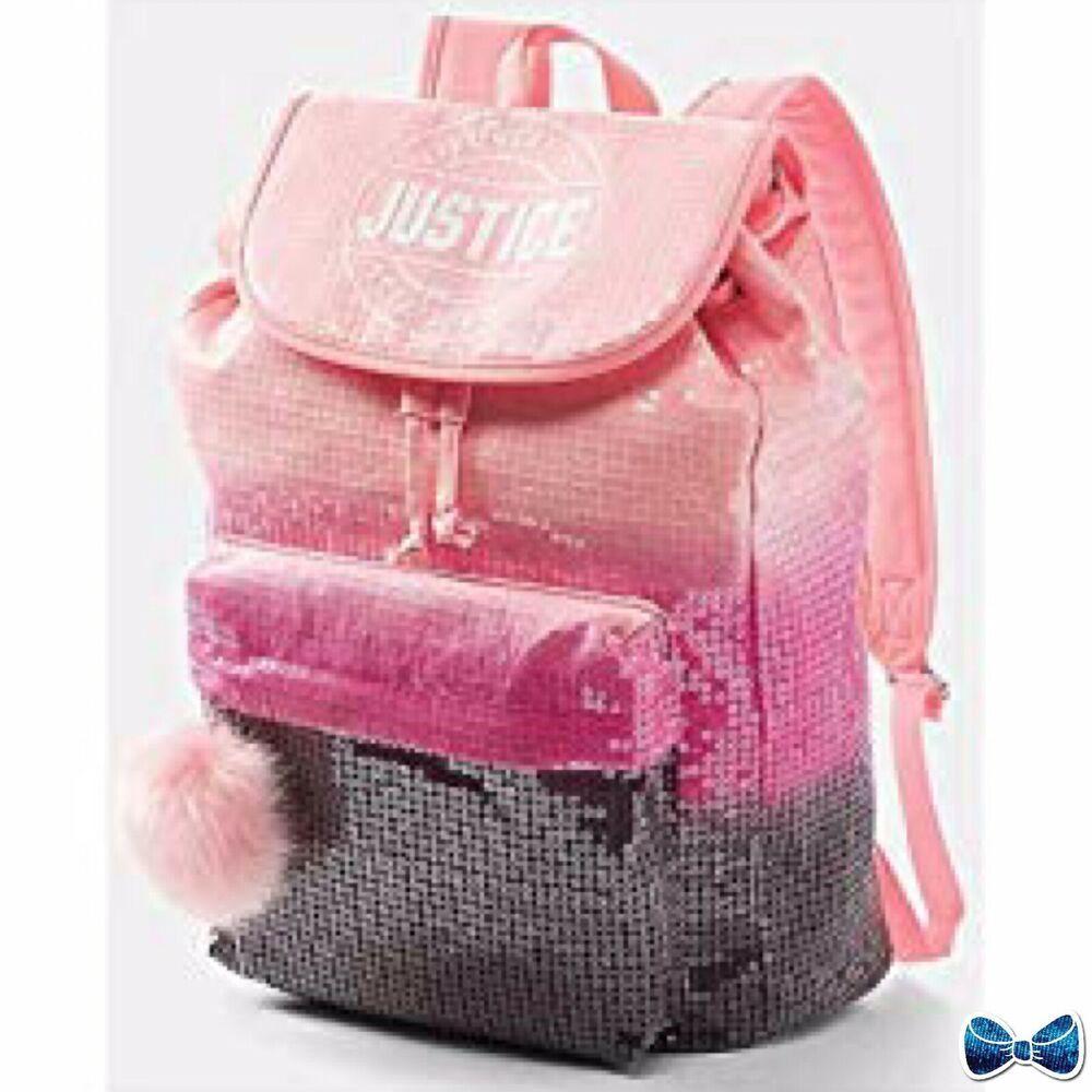 Justice Girls Pink Rose Gold Justice Logo Rucksack Backpack NWT