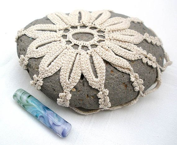Crochet lace stone  Nature decorated river pebble stone by MINTOOK, $25.00