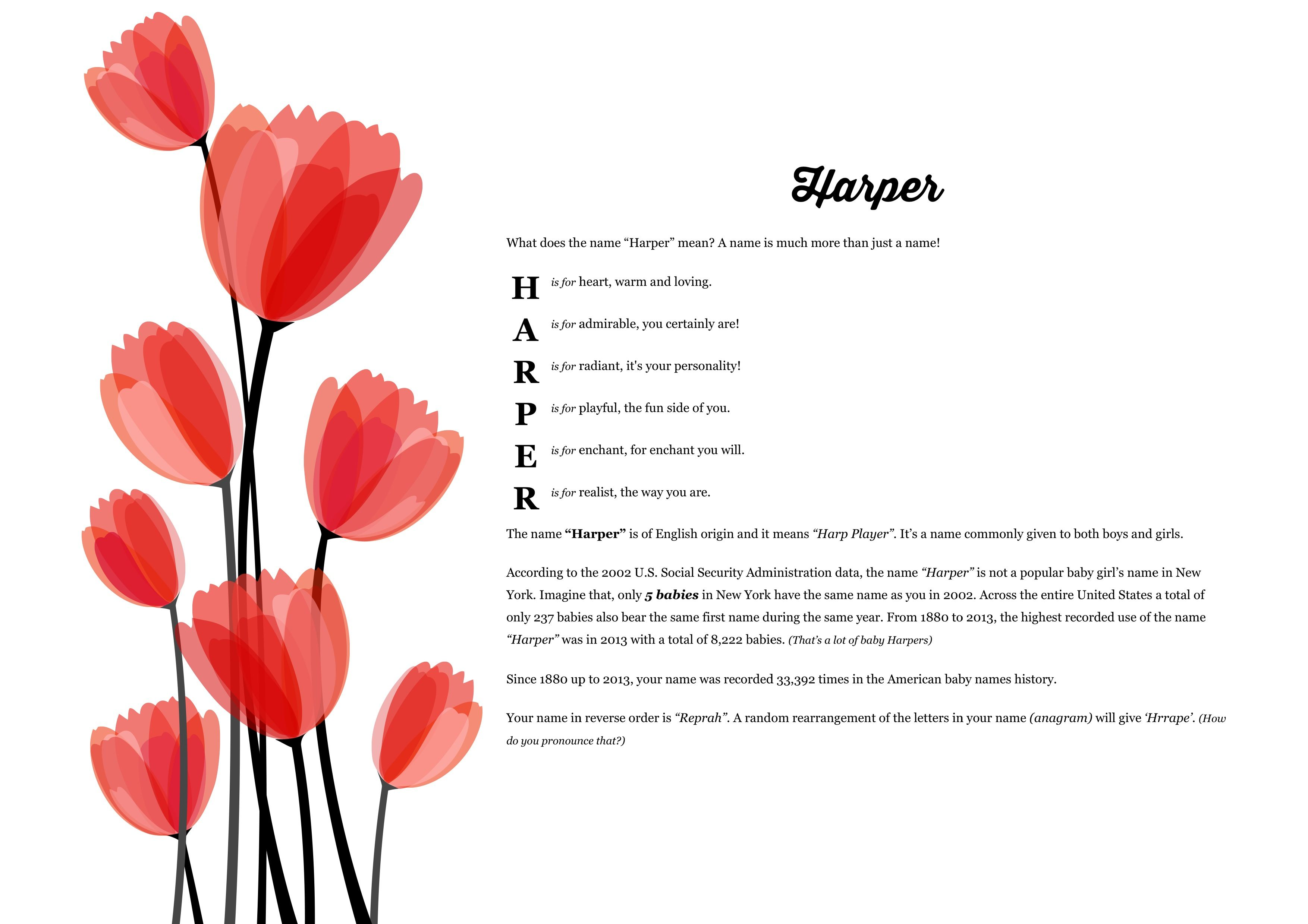 The namemeaning of harper using red flowers from the project pack the namemeaning of harper using red flowers from the project pack flowers unique giftideas and personalizedgifts for babynames izmirmasajfo