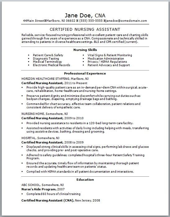 Certified Nursing Assistant Resume - Certified Nursing Assistant - nursing skills resume