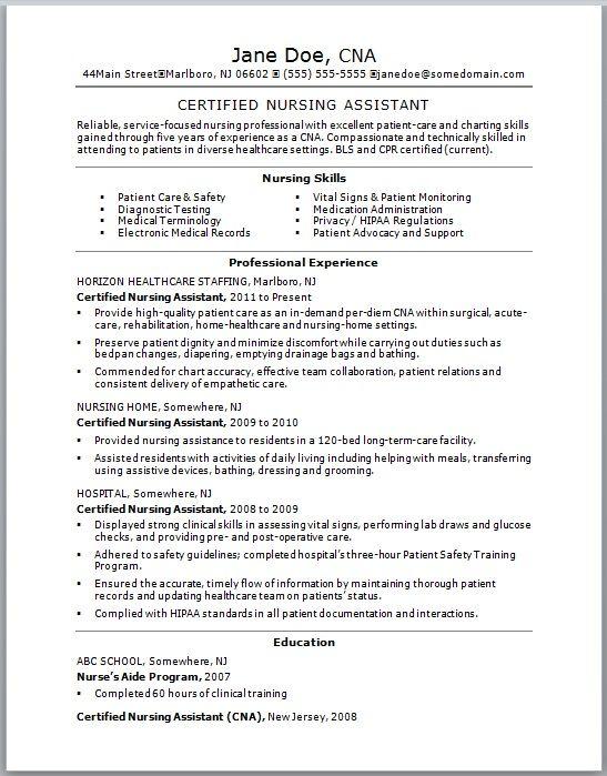 new graduate cna resume examples