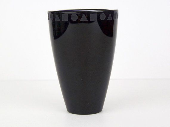 Ward Bennett Sasaki Lead Crystal Black Vase 80s Memphis Era