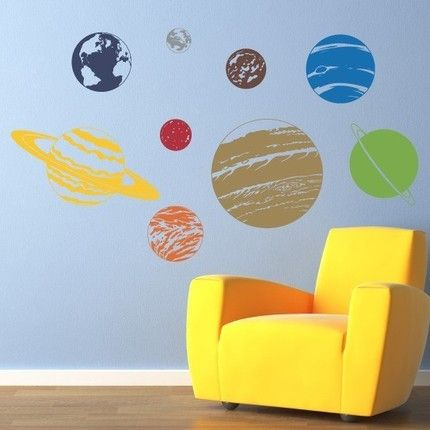 The Little Man would so love this in his room...  Solar System Vinyl Wall Art Decal