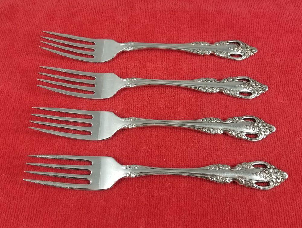 Stainless Steel, Set of 4 Oneida Brahms Pattern Salad Fork
