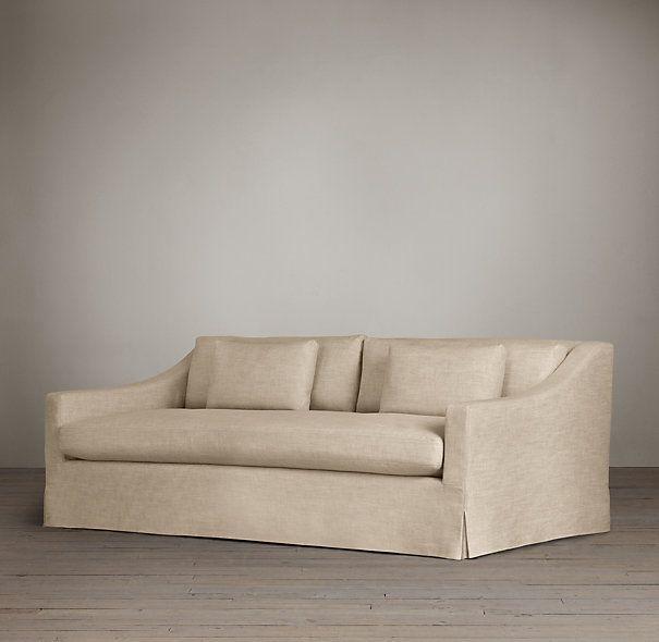 7' Classic Belgian Slope Arm Slipcovered Sofa | Sofas | Restoration Hardware.  56 fabric options.