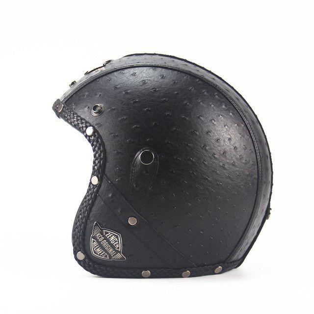 Chopper motorcycle helmet leather