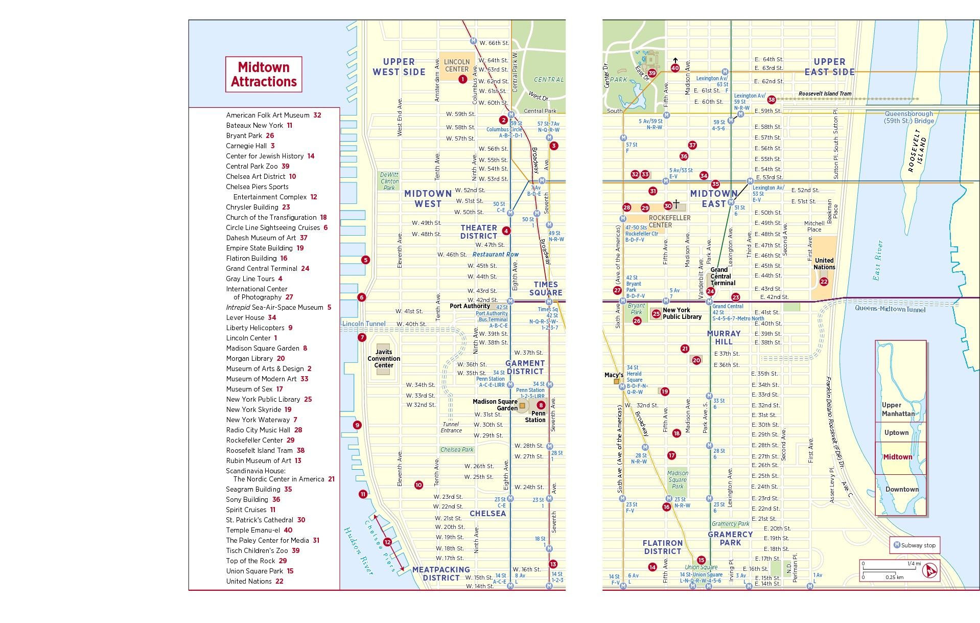 Frommers Map of Midtown Attractions NYC Pinterest City and