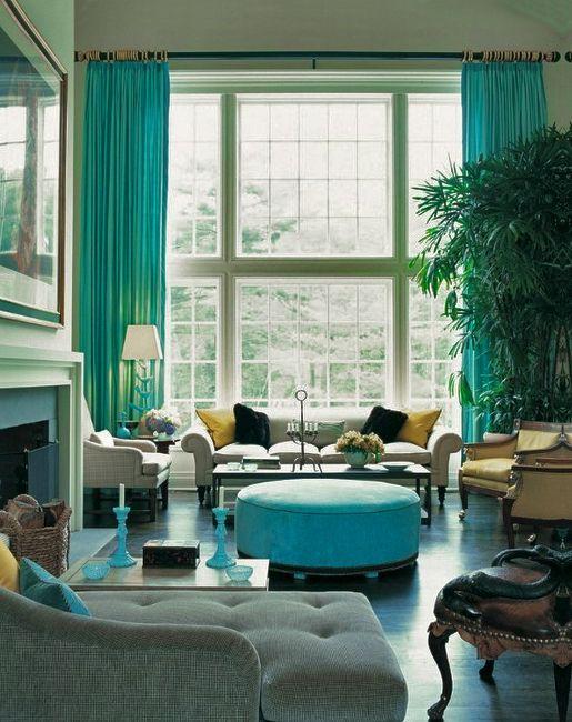 Blauw en #groen in je #woonkamer #interieur | gordijnen | Pinterest
