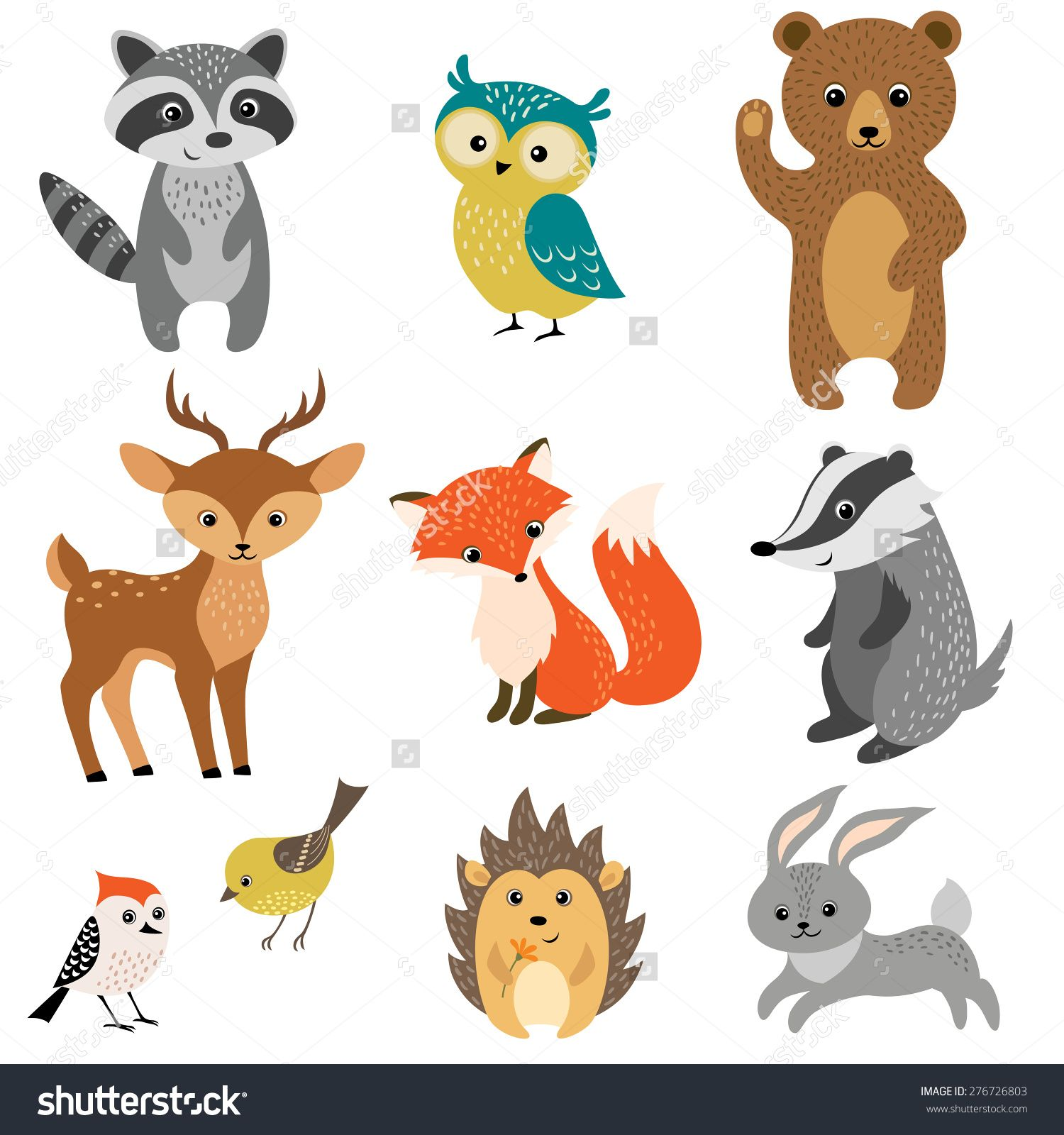 Set Of Cute Woodland Animals Isolated On White Background ...