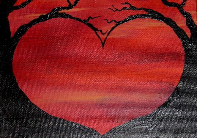 Inspired by trees silhouetted against the sunset, this piece has two trees in black acrylic standing out against a red and orange sky in acrylic pa...
