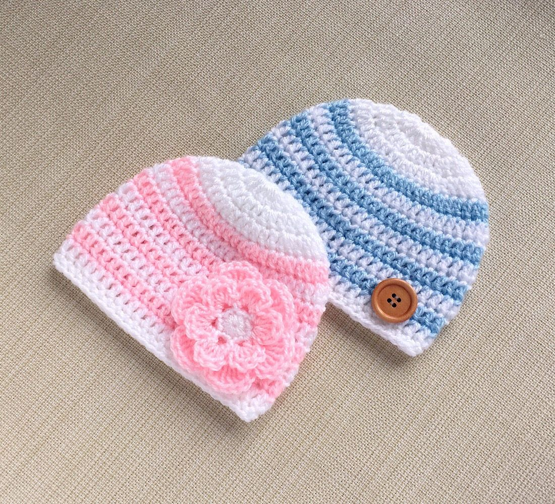 26603756c27 Twin baby hats. 0-3 month boy and girl crochet beanies. Light blue ...