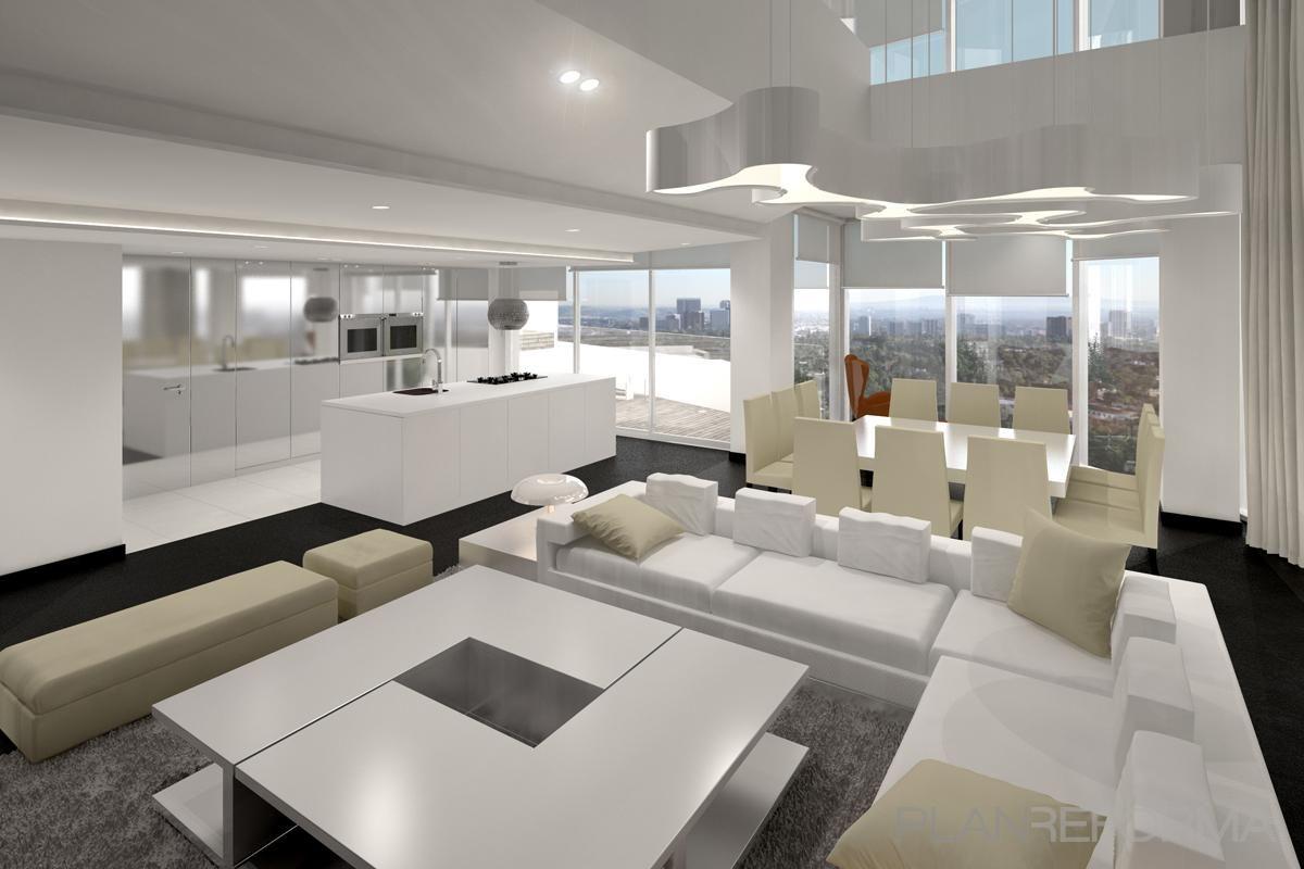 Comedor cocina salon style moderno color beige blanco - Salon moderno blanco ...