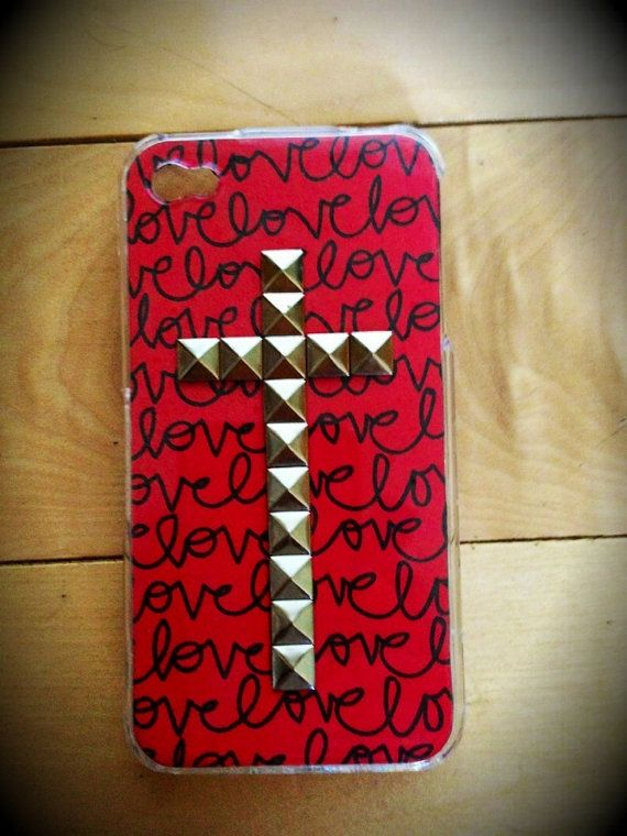 Love studded cross case for iPhone 4/4s and by TouchedByGrace31, $18.50