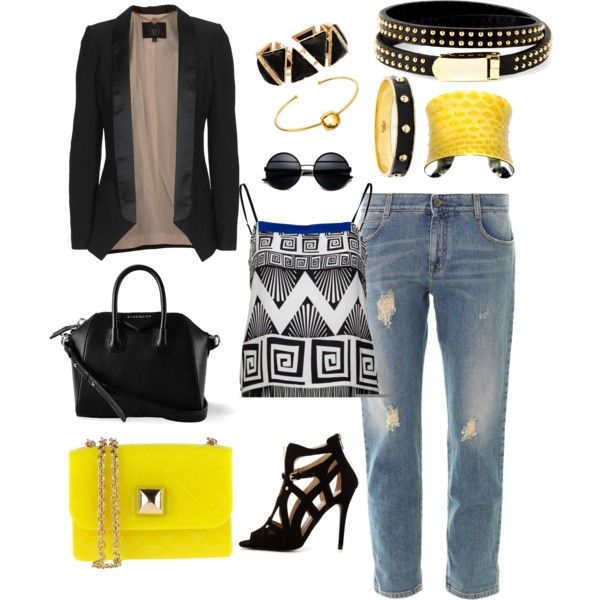 """Black and Yellow"" by becmandl on Polyvore"
