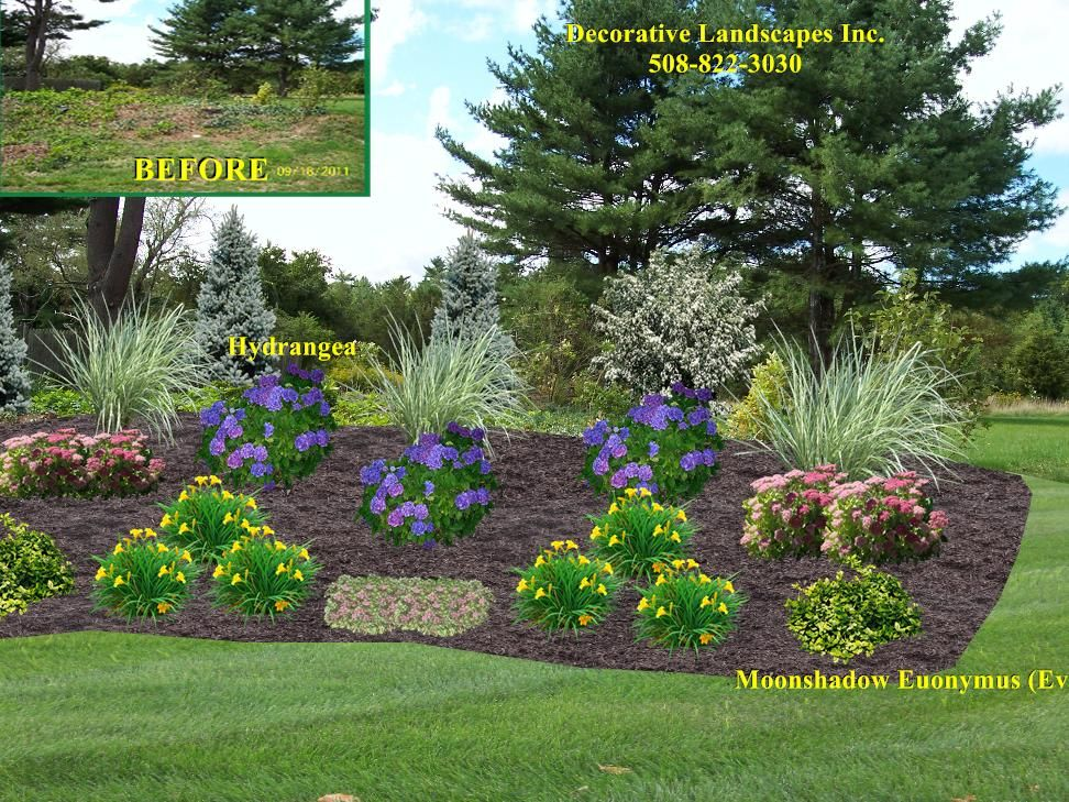 Front yard landscape designs in ma decorative landscapes for Garden design on a slope