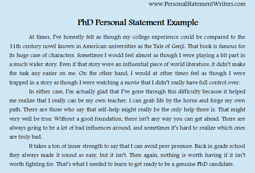 Phd Personal Statement Example HttpWwwPersonalstatementsample