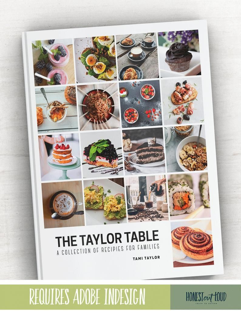 Cookbook And Recipe Template For Adobe Indesign Instant Etsy Recipe Template Cookbook Template Adobe Indesign