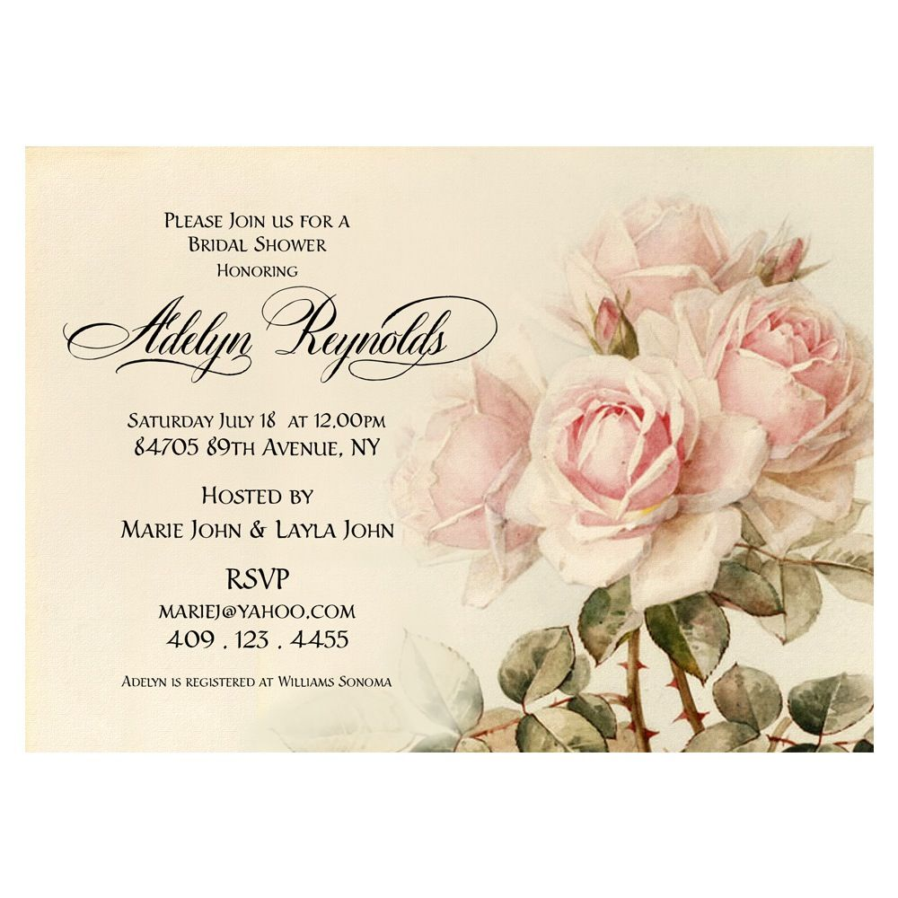 Shabby Chic Bridal Shower Invitation - Cottage Chic Bridal shower ...