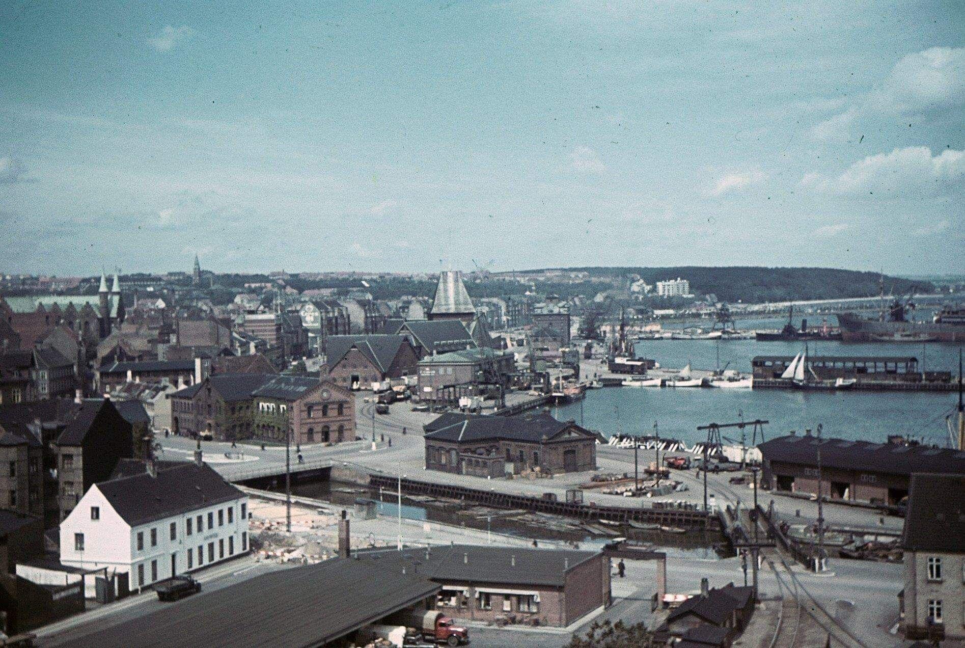 Gammelt Motiv Omkring Arhus Havn Aarhus Danmark Billeder