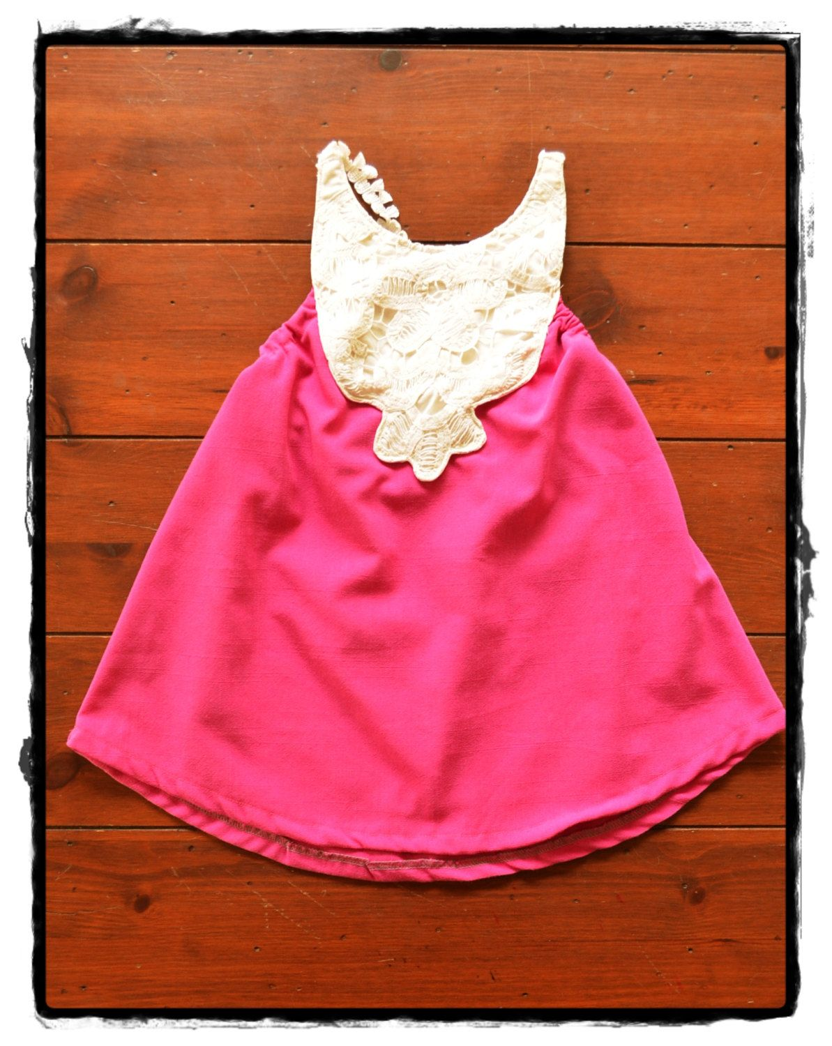 Pink dress baby  Baby toddler girls pink dress with vintage white lace Size m