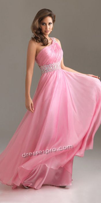 Pink One Shoulder Chiffon Prom Gown DPPD1619