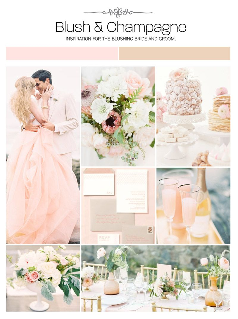 Blush and champagne wedding inspiration board, color palette, mood ...
