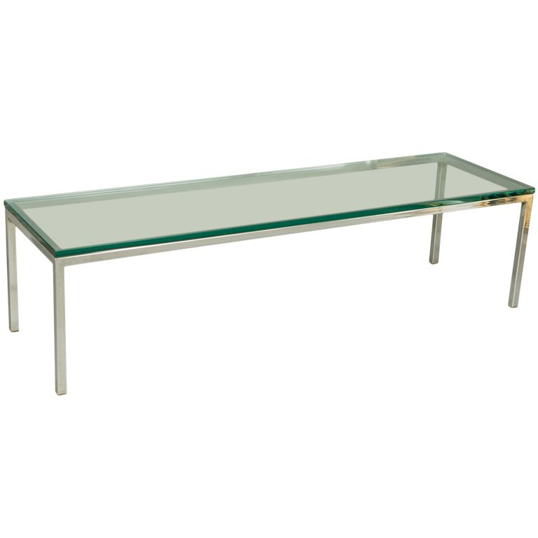 mid-century chrome and glass coffee table   modernt, soffbord och