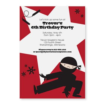 Ninja Birthday Party Invitation Template - DOWNLOAD Instantly - free birthday party invitation template