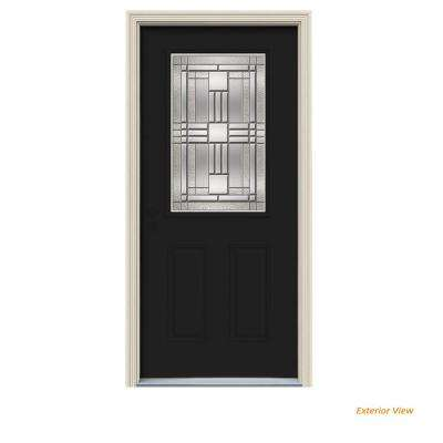 36 In X 80 In 1 2 Lite Cordova Black Painted Steel Prehung Right Hand Inswing Front Door W Brickmould Steel Front Door Front Door Exterior Doors