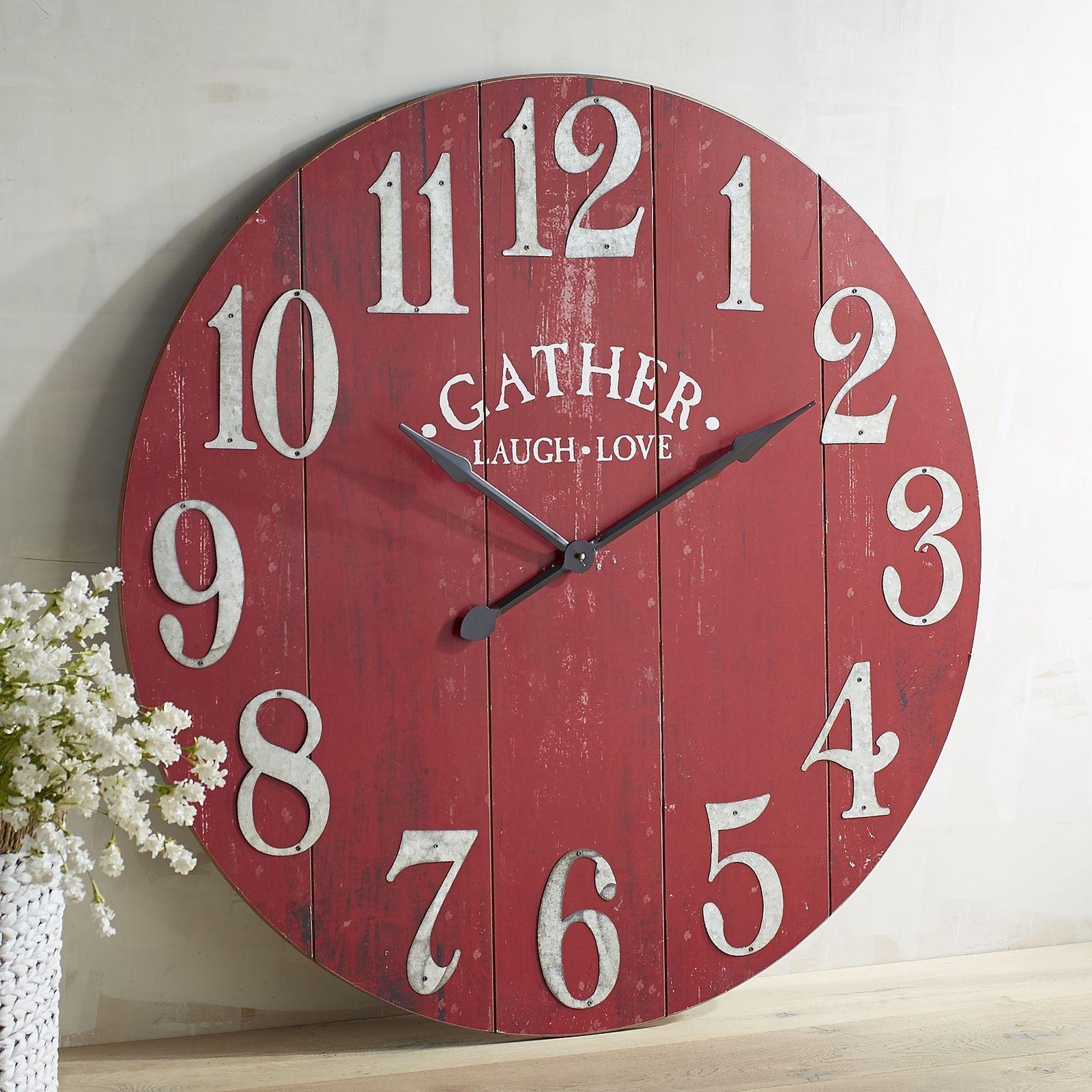 Oversize Red Gather Wall Clock Diy Clock Wall Rustic Wall Clocks Red Wall Clock