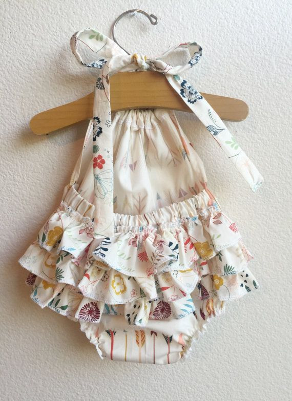 Photo of Little Arrows Ruffled Baby Girl Romper. Baby Girl Romper. Baby Bubble Romper. Baby Sun Suit.