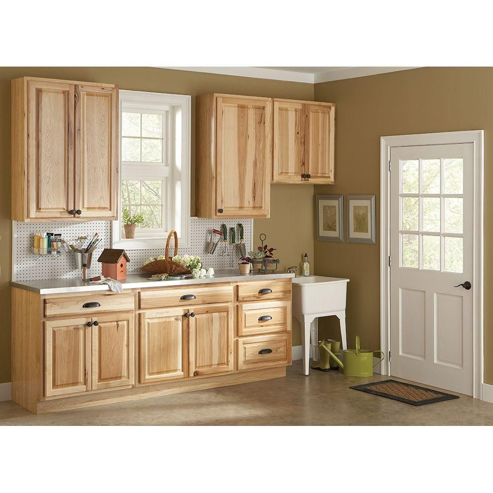 hampton assembled 18x30x12 in wall flex kitchen cabinet with wall flex kitchen cabinet with shelves and dividers in natural hickory