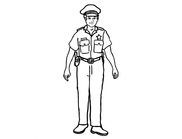 policeman coloring page - police officer coloring pages preschool cards