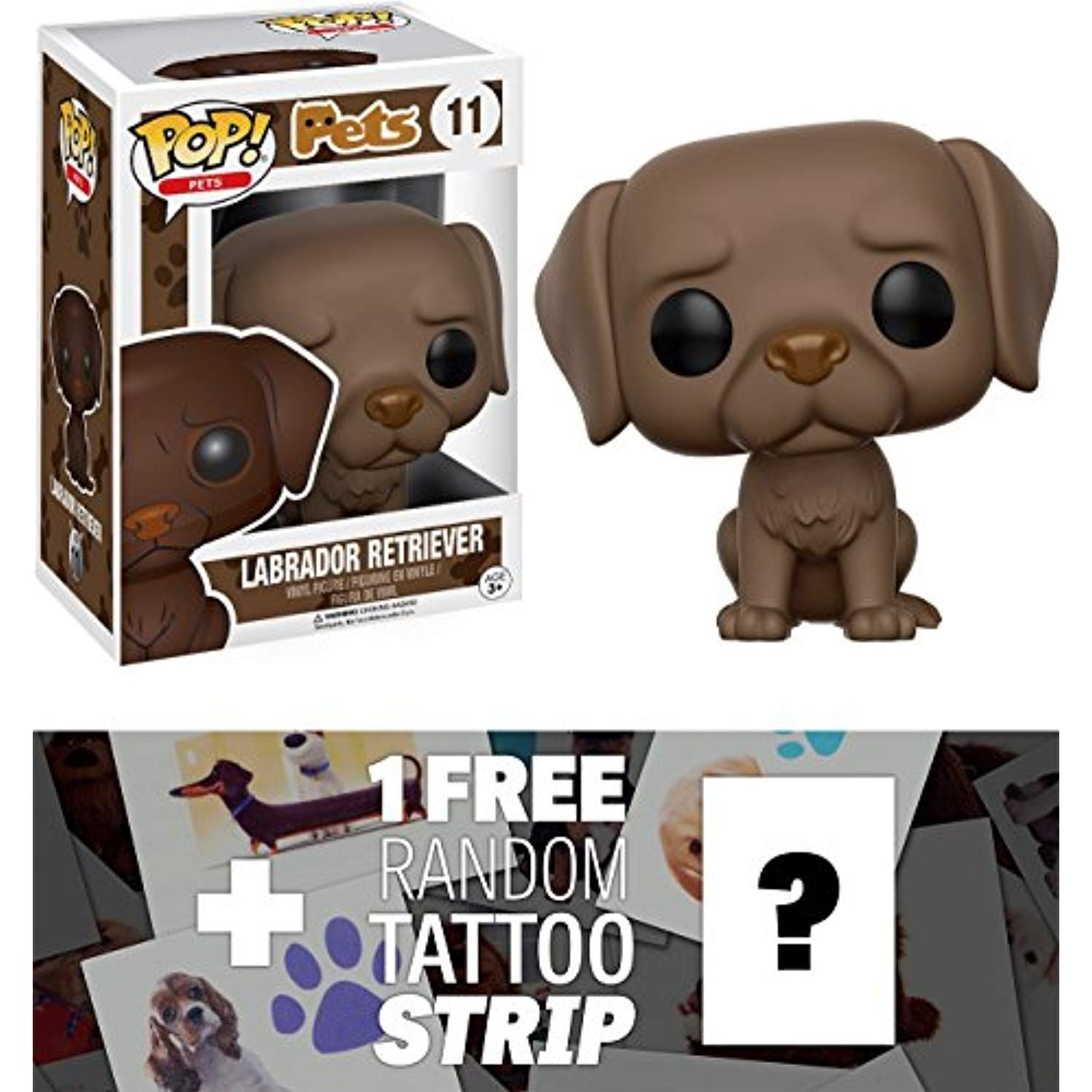 Labrador Retriever Chocolate Funko Pop Pets Vinyl Figure 1 Free Pet Themed Tattoo Strip Bundle 112567 F Labrador Retriever Vinyl Figures Animal Free