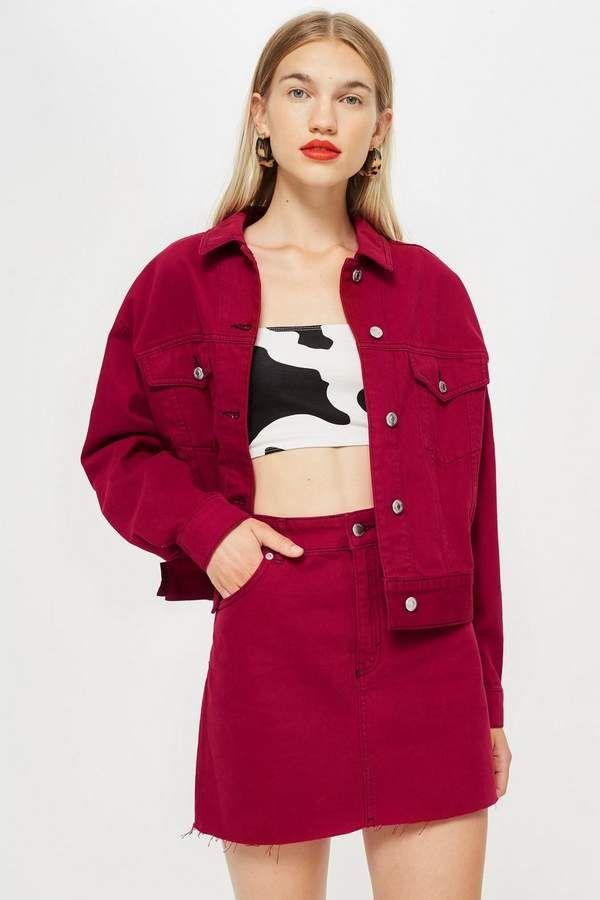 Cherry Red Denim Jacket | Red denim jacket, Denim design ...