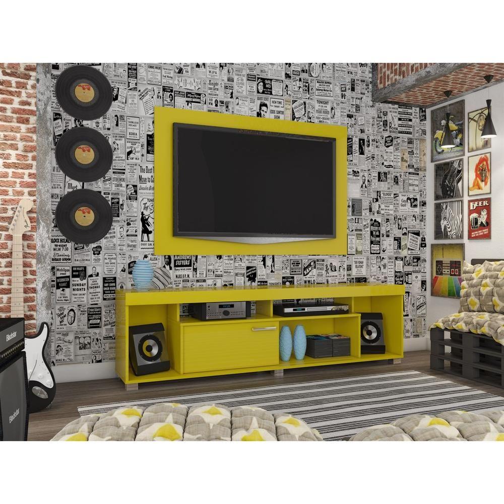 """Rack e Painel para TV até 50"""" Tomaz Madetec - Madetec Amarelo -Móveis e Decoração - Racks e Bancadas - Walmart.com"""